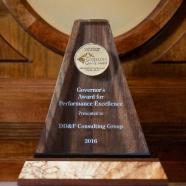 Arkansas Governor's Quality Award sitting on ledge