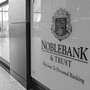 Entrance lobby sign Noble Bank