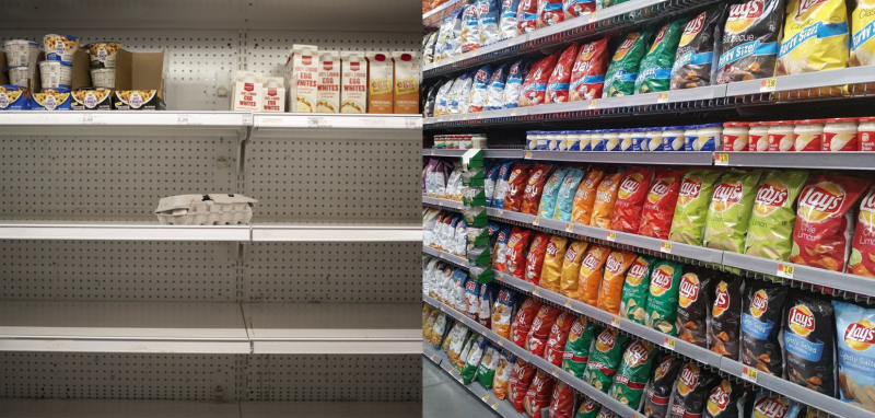 Empty shelves, full chip aisle